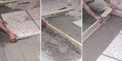 Come posare le piastrelle da giardino su sabbia guida - Pavimentazione giardino senza cemento ...