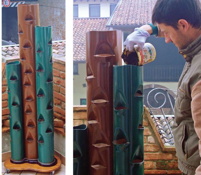 orto verticale, orto in verticalem tubi di PVC