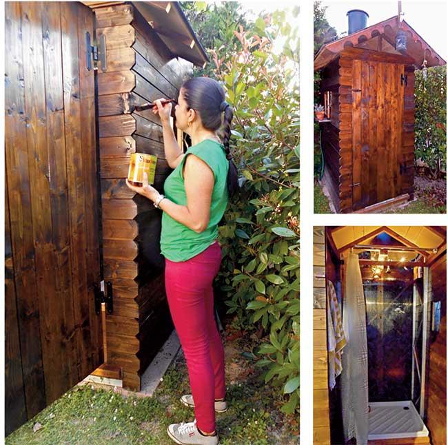 Doccia da giardino fai da te rivestita in legno