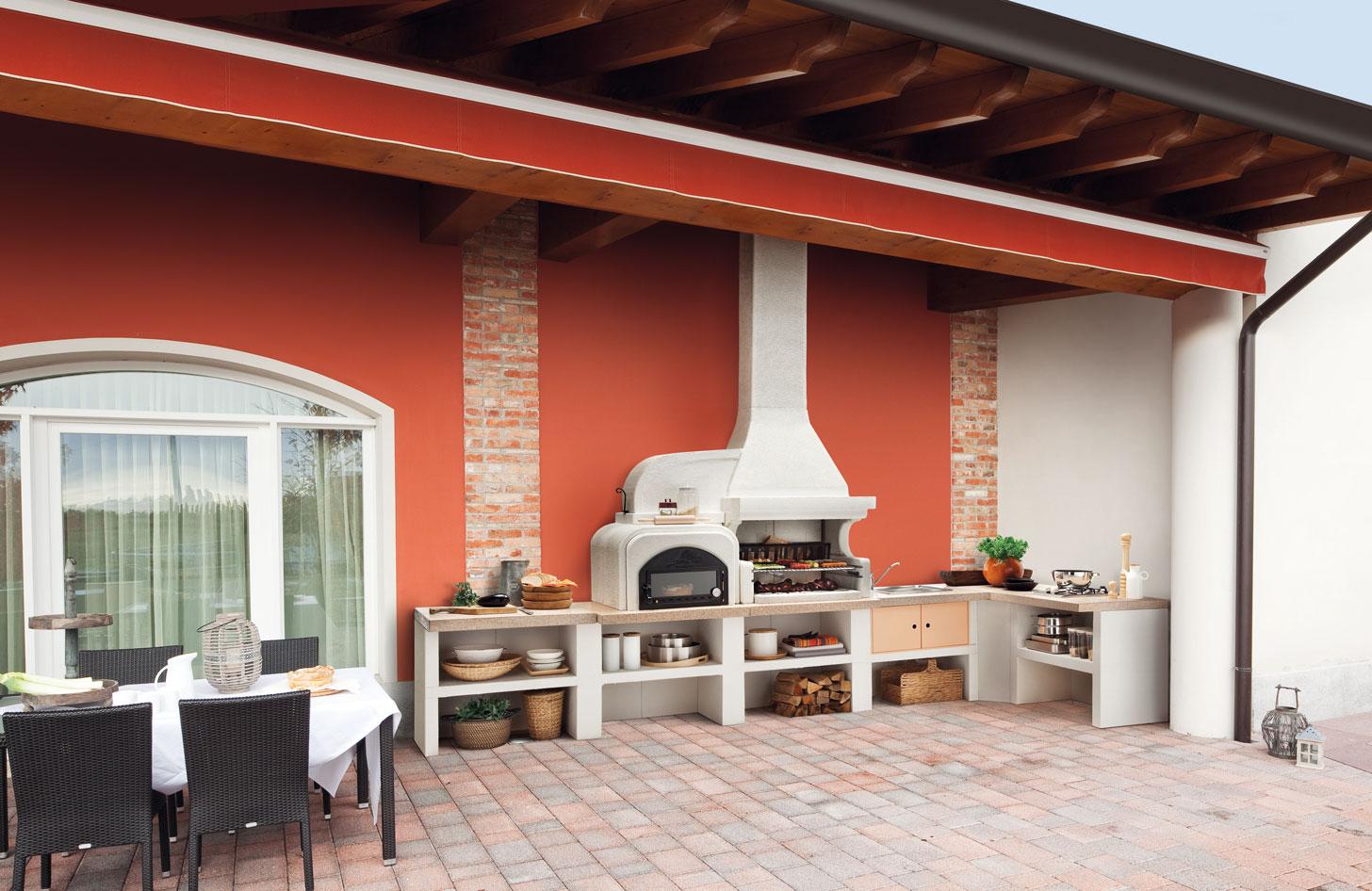 Cucine da esterno piani cottura barbecue e arredi per for Piani di hot house