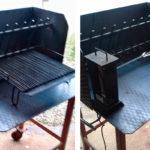 Barbecue in ferro rinnovato ed equipaggiato congriglia e spiedo